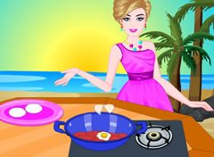 Barbie Preparando Pizza na Praia